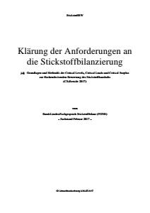 Bild der Titelseite der Publikation: Klärung der Anforderungen an die Stickstoffbilanzierung - Grundlagen und Methodik der Critical Levels, Critical Loads und Critical Surplus zur flächendeckenden Bewertung des Stickstoffhaushalts (CS-Bericht 2017)