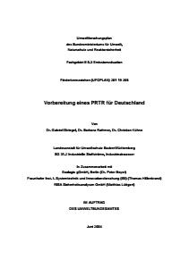 Bild der Titelseite der Publikation: Vorbereitung eines Pollutant Release and Transfer Registers (PRTR) für Deutschland
