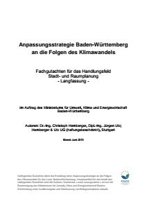 Bild der Titelseite der Publikation: Anpassungsstrategie an den Klimawandel - Fachgutachten für das Handlungsfeld Stadt- und Raumplanung