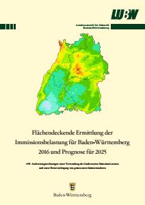 Bild der Titelseite der Publikation: Flächendeckende Ermittlung der Immissionsbelastung für Baden-Württemberg 2016 und Prognose für 2025