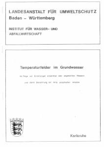 Bild der Titelseite der Publikation: Temperaturfelder im Grundwasser