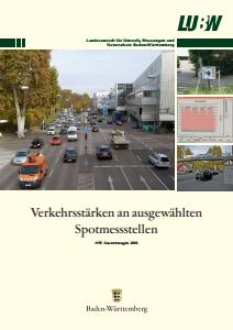 Bild der Titelseite der Publikation: Verkehrsstärken an ausgewählten Spotmessstellen. Auswertungen 2010