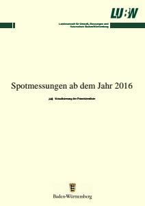 Bild der Titelseite der Publikation: Spotmessungen ab dem Jahr 2016