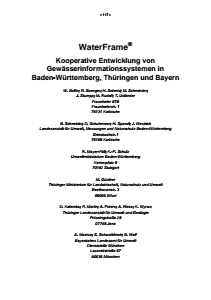 Bild der Titelseite der Publikation: WaterFrame® - Kooperative Entwicklung von Gewässerinformationssystemen in Baden-Württemberg, Thüringen und Bayern