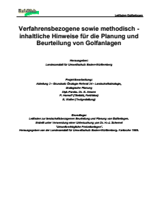 Bild der Titelseite der Publikation: Verfahrensbezogene sowie methodisch-inhaltliche Hinweise für Planung und Beurteilung von Golfanlagen