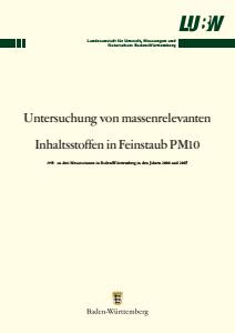 Bild der Titelseite der Publikation: Untersuchung von massenrelevanten Inhaltsstoffen in Feinstaub PM10
