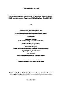 Bild der Titelseite der Publikation: Verbundvorhaben: Innovative Erzeugung von SNG und CNG aus biogenen Rest- und Abfallstoffen