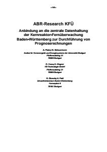 Bild der Titelseite der Publikation: ABR-Research KFÜ - Anbindung an die zentrale Datenhaltung der Kernreaktor-Fernüberwachung Baden-Württemberg zur Durchführung von Prognoserechnungen
