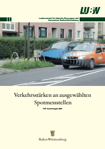 Bild der Titelseite der Publikation: Verkehrsstärken an ausgewählten Spotmessstellen. Auswertungen 2008