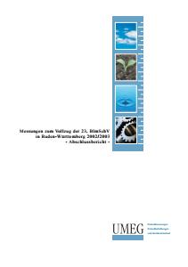 Bild der Titelseite der Publikation: Messungen zum Vollzug der 23. BImSchV in Baden-Württemberg 2002/2003