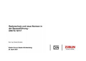 Bild der Titelseite der Publikation: Radonschutz und neue Normen in der Bauausführung - DIN/TS 18117