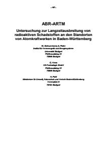 Bild der Titelseite der Publikation: ABR-ARTM - Untersuchung zur Langzeitausbreitung von radioaktiven Schadstoffen an den Standorten von Atomkraftwerken in Baden-Württemberg