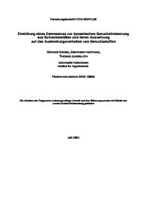 Bild der Titelseite der Publikation: Ermittlung eines Datensatzes zur dynamischen Geruchsfreisetzung aus Schweineställen und deren Auswirkung auf das Ausbreitungsverhalten von Geruchsstoffen