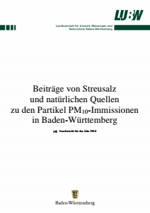 Bild der Titelseite der Publikation: Beiträge von Streusalz und natürlichen Quellen zu den Partikel PM10-Immissionen in Baden-Württemberg
