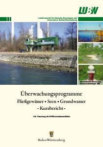 Bild der Titelseite der Publikation: Überwachungsprogramme: Fließgewässer, Seen, Grundwasser - Kurzbericht