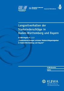 Bild der Titelseite der Publikation: Langzeitverhalten der Starkniederschläge in Baden-Württemberg und Bayern