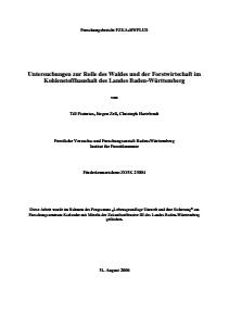 Bild der Titelseite der Publikation: Untersuchungen zur Rolle des Waldes und der Forstwirtschaft im Kohlenstoffhaushalt des Landes Baden-Württemberg