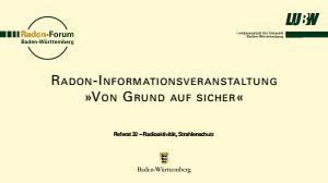 Bild der Titelseite der Publikation: Radon-Informationsveranstaltung »Von Grund auf sicher« - 09.06.2021