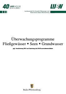 Bild der Titelseite der Publikation: Überwachungsprogramme: Fließgewässer, Seen, Grundwasser