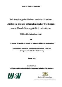 Bild der Titelseite der Publikation: Bekämpfung der Hohen und der Stauden-Ambrosie mittels unterschiedlicher Methoden sowie Durchführung örtlich orientierter Öffentlichkeitsarbeit