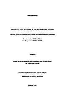 Bild der Titelseite der Publikation: Pharmaka und Hormone in der aquatischen Umwelt - Teilbericht II