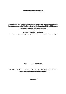 Bild der Titelseite der Publikation: Monitoring der Desinfektionsmittel Triclosan, Triclocarban und Hexachlorophen in Fließgewässern, Sedimenten, Klärschlämmen, Zu- und Abläufen von Kläranlagen