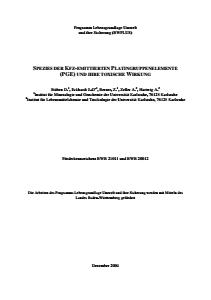 Bild der Titelseite der Publikation: Spezies der Kfz-emittierten Platingruppenelemente (PGE) und ihre toxische Wirkung