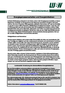 Bild der Titelseite der Publikation: Informationsblatt 008 Energiegenossenschaften und Energieinitiativen