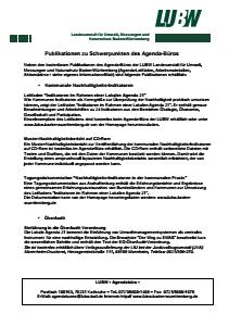 Bild der Titelseite der Publikation: Informationsblatt 002: Publikationen zu Schwerpunkten des Agenda-Büros