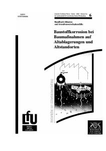 Bild der Titelseite der Publikation: Baustoffkorrosion bei Baumaßnahmen auf Altablagerungen und Altstandorten