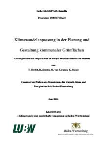 Bild der Titelseite der Publikation: Klimawandelanpassung in der Planung und Gestaltung kommunaler Grünflächen