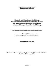 Bild der Titelseite der Publikation: Herkunft und Bilanzierung des Eintrags des Benzinzusatzes Methyl-tert-butylether (MTBE) und seinen Abbauprodukten in Grundwasser mittels multikompartimenteller Modellierung