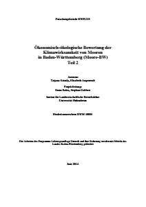 Bild der Titelseite der Publikation: Ökonomisch-ökologische Bewertung der Klimawirksamkeit von Mooren in Baden-Württemberg (Teil 2)