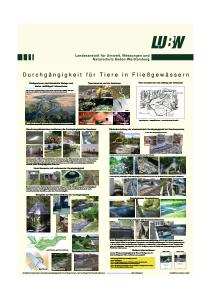 Bild der Titelseite der Publikation: Durchgängigkeit für Tiere in Fließgewässern
