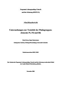 Bild der Titelseite der Publikation: Untersuchungen zur Toxizität der Platingruppenelemente Pt, Pd und Rh