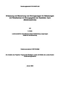 Bild der Titelseite der Publikation: Erfassung und Bewertung von Eintragswegen für Belastungen mit Fäkalkeimen im Einzugsgebiet der Seefelder Aach (Bodenseekreis)