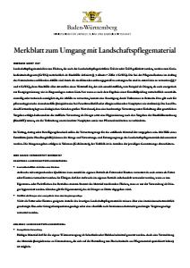 Bild der Titelseite der Publikation: Merkblatt zum Umgang mit Landschaftspflegematerial