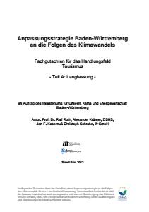 Bild der Titelseite der Publikation: Anpassungsstrategie an den Klimawandel - Fachgutachten für das Handlungsfeld Tourismus