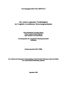 Bild der Titelseite der Publikation: Die Analyse regionaler Nachhaltigkeit im Vergleich verschiedener Bewertungsmethoden