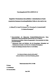 Bild der Titelseite der Publikation: Regulative Mechanismen intrazellulärer Antioxidantien in Staub-exponierten humanen bronchoepithelialen Zellen in vitro und in vivo