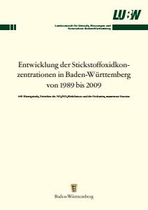 Bild der Titelseite der Publikation: Entwicklung der Stickstoffoxidkonzentrationen in Baden-Württemberg von 1989 bis 2009