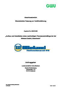 Bild der Titelseite der Publikation: Aufbau und Installation eines nachhaltigen Processcontrollings bei der Wieland GmbH, Mannheim (Pilotbetrieb)
