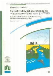 Bild der Titelseite der Publikation: Umweltverträglichkeitsprüfung bei Wasserbauvorhaben nach § 31 WHG. Teil III