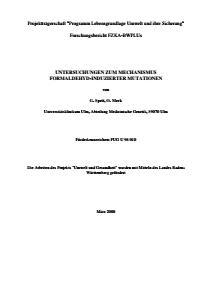 Bild der Titelseite der Publikation: Untersuchungen zum Mechanismus Formaldehyd-induzierter Mutationen