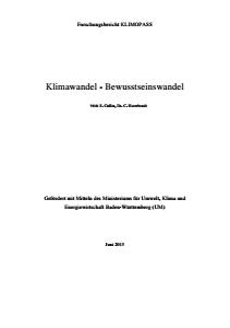 Bild der Titelseite der Publikation: Klimawandel - Bewusstseinswandel