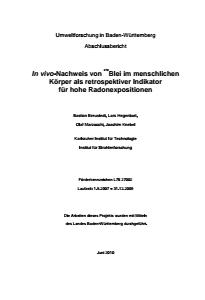 Bild der Titelseite der Publikation: In-vivo-Nachweis von Blei-210 im menschlichen Körper als retrospektiver Indikator für hohe Radonexpositionen