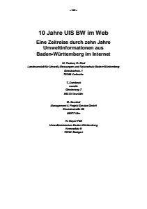 Bild der Titelseite der Publikation: 10 Jahre UIS BW im Web - Eine Zeitreise durch zehn Jahre Umweltinformationen aus Baden-Württemberg im Internet