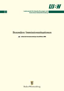Bild der Titelseite der Publikation: Besondere Immissionssituationen während der Inversionswetterlagen Januar/Februar 2006