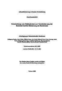 Bild der Titelseite der Publikation: Entwicklung von Maßnahmen zur Verminderung der Badedermatitis-Belastung am Bodensee