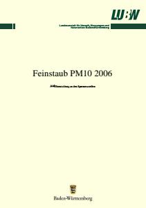Bild der Titelseite der Publikation: Feinstaub PM10 2006